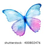 Stock photo color watercolor butterfly isolated on white background 400802476