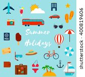 summer holiday flat icons.... | Shutterstock .eps vector #400819606