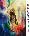 drawing of native american... | Shutterstock . vector #400829332