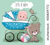 greeting card it's a boy with... | Shutterstock .eps vector #400839772