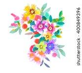 watercolor floral bouquet. hand ...   Shutterstock . vector #400849396