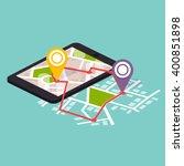 flat 3d isometric mobile... | Shutterstock .eps vector #400851898