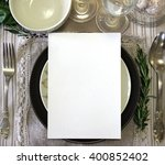 table place  reserved card ... | Shutterstock . vector #400852402