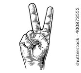 female hand sign victory or... | Shutterstock .eps vector #400873552