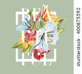 beautiful. floral graphic... | Shutterstock .eps vector #400875592