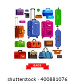 travel bags in various colors.... | Shutterstock .eps vector #400881076