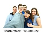group of happy young teenager... | Shutterstock . vector #400881322