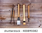 top view of used barbecue... | Shutterstock . vector #400890382