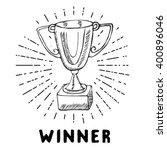 sport trophy sketch doodle.... | Shutterstock .eps vector #400896046