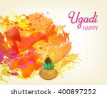 happy ugadi festival. indian... | Shutterstock .eps vector #400897252
