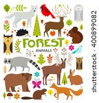 Set Of Forest Animals Made In...