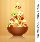 various fruits and berries are...   Shutterstock .eps vector #400917586
