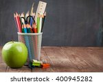 school and office supplies and... | Shutterstock . vector #400945282