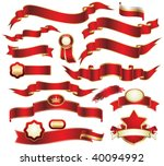 collection of red ribbons | Shutterstock .eps vector #40094992