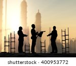 silhouette of worker at the... | Shutterstock . vector #400953772