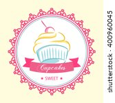logo centered sweet cupcake | Shutterstock .eps vector #400960045