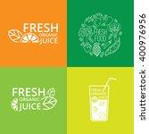 fresh food logo set juice logo... | Shutterstock .eps vector #400976956