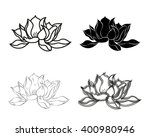 set of four lotus flowers.... | Shutterstock . vector #400980946