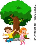 boys and girls jumping for joy  | Shutterstock .eps vector #400982662