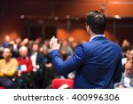 speaker giving a talk on... | Shutterstock . vector #400996306