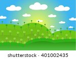 landscape with green hills ... | Shutterstock .eps vector #401002435