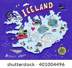 illustrated map of iceland.... | Shutterstock .eps vector #401004496