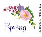 flowers vector on white... | Shutterstock .eps vector #401009326