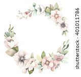 watercolor floral wreath with...   Shutterstock . vector #401011786