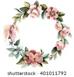 watercolor floral wreath with... | Shutterstock . vector #401011792
