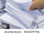 hand browsing through stack. | Shutterstock . vector #401029756