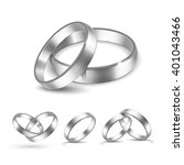 vector set of silver wedding... | Shutterstock .eps vector #401043466