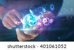 hand touch screen smart phone... | Shutterstock . vector #401061052
