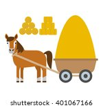 horse with cart haystack in... | Shutterstock .eps vector #401067166
