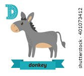 donkey. d letter. cute children ... | Shutterstock .eps vector #401073412