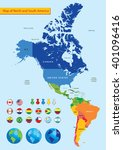 map of north and south america | Shutterstock .eps vector #401096416
