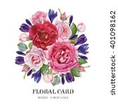 Stock photo floral card bouquet of watercolor roses and crocuses illustration 401098162