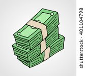 hand drawn banknotes stack.... | Shutterstock .eps vector #401104798