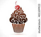 vector cupcake icon logo... | Shutterstock .eps vector #401109922