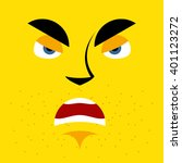 Cartoon Angry Face On Yellow...