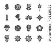 flower icons set. modern thin... | Shutterstock . vector #401125132
