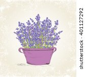 lavender flowers in vintage pot.... | Shutterstock .eps vector #401127292