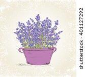 lavender flowers in vintage pot.... | Shutterstock .eps vector #401127292