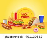 realistic fast food set... | Shutterstock . vector #401130562