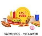 realistic fast food set... | Shutterstock . vector #401130628