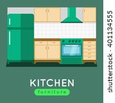 kitchen furniture illustration. ... | Shutterstock . vector #401134555