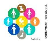 modern colorful vector family... | Shutterstock .eps vector #401139616