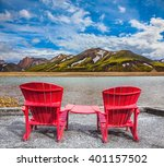 Two Comfortable Red Deck Chair...