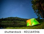 camping in forest at night with ... | Shutterstock . vector #401164546