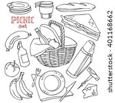 set for a picnic  picnic basket ... | Shutterstock .eps vector #401168662