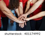 close up of sport team stacking ... | Shutterstock . vector #401174992